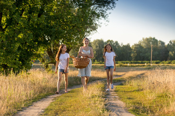 Happy young family walking with basket on picnic at field