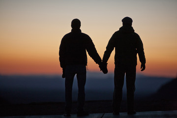Happy couple holding hands while watching a sunset.