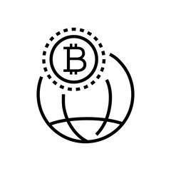 Worldwide cryptocurrency - line design single isolated icon
