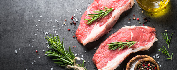 Door stickers Meat Raw beef striploin steak.