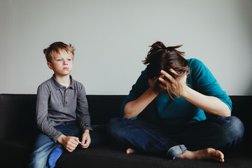 sad child with mother, family in trouble