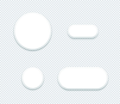 Vector 3d Blank White Paper Layered Circle Shapes Set