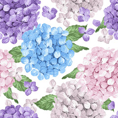 Hydrangea flowers, petals and leaves in watercolor style on white background. Seamless pattern for textile, wrapping paper, package,