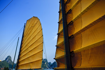 Sail of a Vietnamese sailboat.