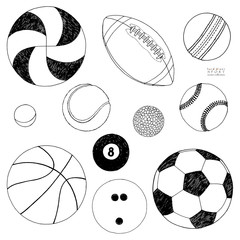 Vector set of sport balls. Hand drawn sketch. Isolated on white background