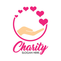 charity and care logo, emblems and insignia with text space for your slogan / tagline. vector illustration