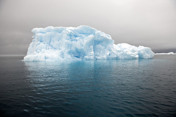 Large iceberg reflected in the sea on a cloudy day.