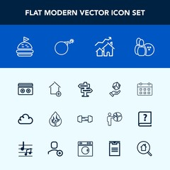 Modern, simple vector icon set with cloud, house, apartment, dont, shipping, cargo, sound, time, new, calendar, ball, schedule, property, sport, door, hanger, timetable, bread, stereo, workout icons