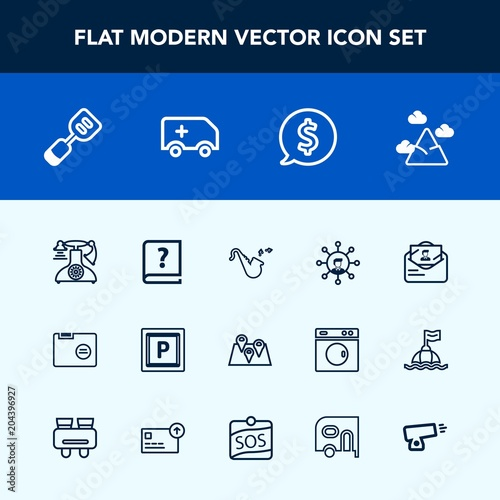 Modern, simple vector icon set with folder, location