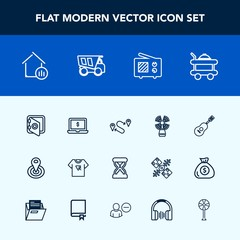 Modern, simple vector icon set with antenna, hotel, real, house, banking, service, travel, seamark, technology, center, room, sea, guitar, safety, hour, notebook, tshirt, cycle, laptop, bed, map icons