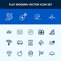 Modern, simple vector icon set with car, day, food, washer, roller, surfer, photographer, roll, medical, appliance, tool, communication, housework, dish, camera, boat, machine, sign, biology icons