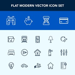 Modern, simple vector icon set with home, sand, card, train, extreme, money, sky, furniture, electricity, railway, box, dirt, web, wheel, phone, interior, online, moon, waste, double, transport icons