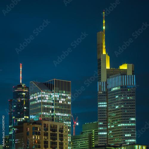Frankfurt Skyscraper Top Night