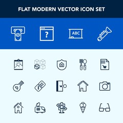 Modern, simple vector icon set with shopping, finance, frame, domino, instrument, relocation, home, package, blank, board, spoon, music, folk, cardboard, trumpet, exit, atm, white, dinner, black icons