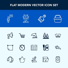 Modern, simple vector icon set with announcement, grass, sport, food, wildlife, megaphone, note, day, nature, picnic, timer, dolphin, environment, chat, trolley, speaker, retail, paper, clock,  icons