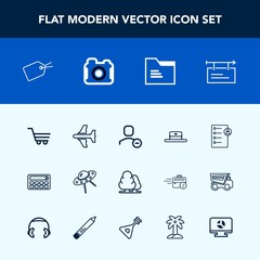 Modern, simple vector icon set with spacecraft, office, airplane, cart, nature, retail, blank, document, job, delete, travel, web, user, shop, banner, plane, technology, file, ufo, button, cap icons