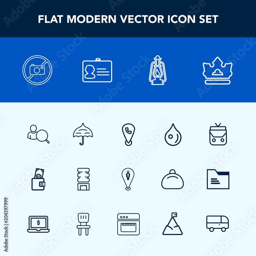 Modern, simple vector icon set with lantern, cooler, pin