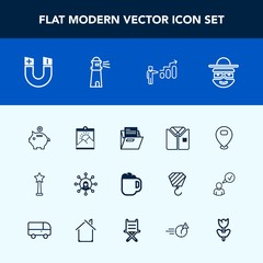 Modern, simple vector icon set with file, medal, mug, coffee, folder, sign, frame, shirt, drink, lighthouse, progress, display, finance, paper, money, field, map, photo, ocean, magnetic, picture icons