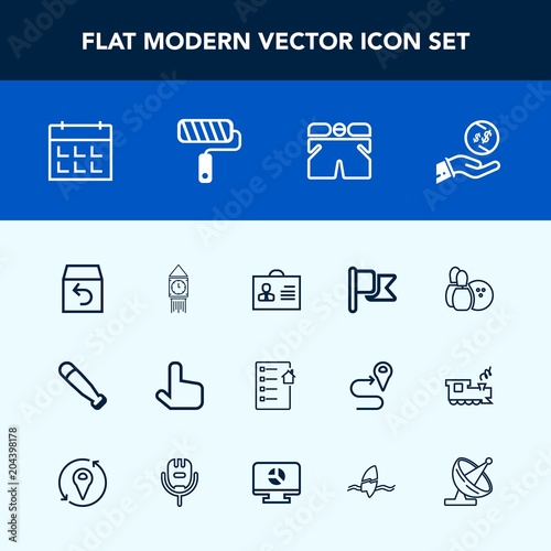 modern simple vector icon set with profile day flag schedule