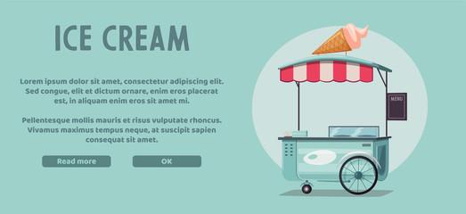 Street food or ice cream vendor truck. Cartoon vector illustration