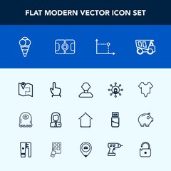 Modern, simple vector icon set with tipper, internet, food, truck, map, ball, touch, girl, screen, button, character, building, fashion, road, cute, estate, cream, business, pin, technology, job icons
