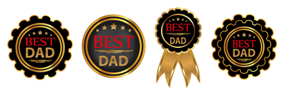 """Collection four vector badges """"Best dad"""". Vector"""