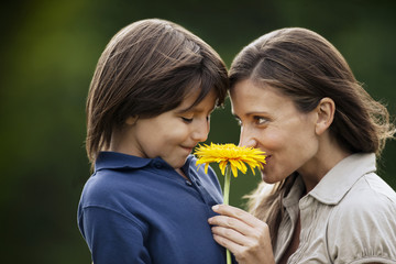 Young boy giving his mother a sunflower.