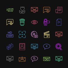 Modern Simple Colorful Set of chat and messenger, video, photos, email Vector outline Icons. Contains such Icons as  send,  smartphone,  web and more on dark background. Fully Editable. Pixel Perfect