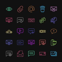 Modern Simple Colorful Set of chat and messenger, video, photos, email Vector outline Icons. Contains such Icons as  communication,  media and more on dark background. Fully Editable. Pixel Perfect