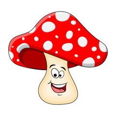 cartoon  toadstool character isolated on white background