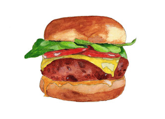 Watercolor illustration of delicious burger with salad, cheese, tomato and beans. Hand drawn picture. Isolated on white background.