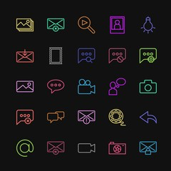 Modern Simple Colorful Set of chat and messenger, video, photos, email Vector outline Icons. Contains such Icons as  theater,  mail,  picture and more on dark background. Fully Editable. Pixel Perfect