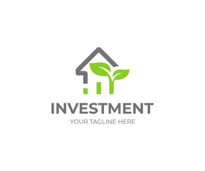 Property investment logo template. House and growth graph with sprout vector design. Investing in real estate logotype