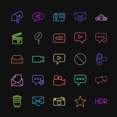 Modern Simple Colorful Set of chat and messenger, video, photos, email Vector outline Icons. Contains such Icons as  tourism, favorite,  mail and more on dark background. Fully Editable. Pixel Perfect