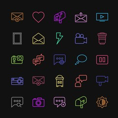 Modern Simple Colorful Set of chat and messenger, video, photos, email Vector outline Icons. Contains such Icons as  media,  stamp,  house and more on dark background. Fully Editable. Pixel Perfect