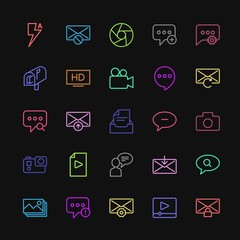 Modern Simple Colorful Set of chat and messenger, video, photos, email Vector outline Icons. Contains such Icons as image,  failure,  alert and more on dark background. Fully Editable. Pixel Perfect