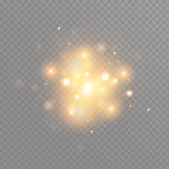 Gold glow particles bokeh. Glitter effect. Burst with sparkles.Golden Sparkling Glitters and Stars. Vector Festive Illustration of Shiny Particles. Fire Stars Isolated on Transparent.