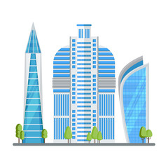 Multi-storey skyscrapers, a modern city. Office buildings in the center of the metropolis. High-tech buildings. Flat, vector, cartoon, illustration., Objects, isolated, white, background.