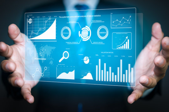 A chart and graph icons on a digital screen interface. big data analytics and business intelligence concept.
