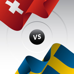 Switzerland vs Sweden. Ice hockey championship 2018. Vector illustration.