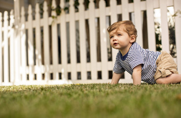 Young toddler crawling in his back yard.