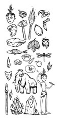 Prehistoric life of the caveman in Stone Age. A set of icons, stickers. Things, animals and one man from Stone Age life. Cartoon doodle illustration. Black and white. can be used for coloring.
