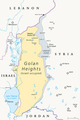 Golan Heights. political map with borders, important places, rivers and Lake Tiberias. A region in the Levant. Area, captured from Syria and occupied by Israel. English labeling. Illustration. Vector.