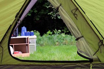 Blick aus dem Camping Zelt