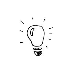 Handdrawn idea doodle icon. Hand drawn black sketch. Sign symbol. Decoration element. White background. Isolated. Flat design. Vector illustration