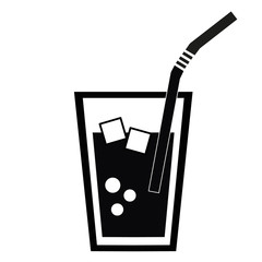Drink. Cola with ice. Soft drink. Icon.