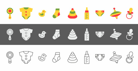 Baby things icons set. isolated on white background