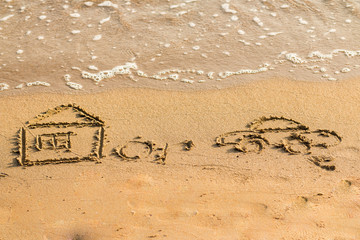 Car is near the house drawn by hand on a sandy golden sea beach.concept of risk in real estate financing.drawing on the beach.risk conditions. A hard choice to make.