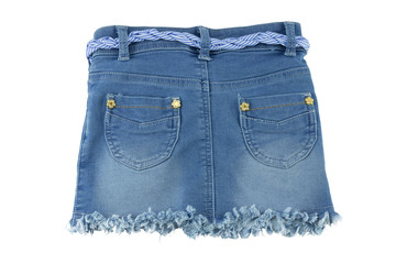 Back view of fashionable blue jeans skirt for children.
