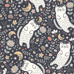 Adorable seamless pattern with a cute cat sleeping in the plants. Good night background. Vector illustration
